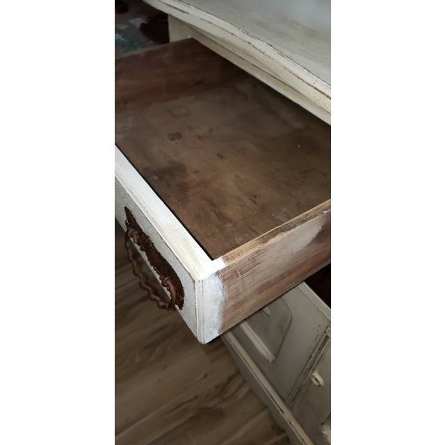 White Circa 1880 Farmhouse Style Buffet With Wine Rack For Sale - Image 8 of 11