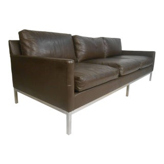 Mid-Century Modern Leather Sofa After Florence Knoll For Sale