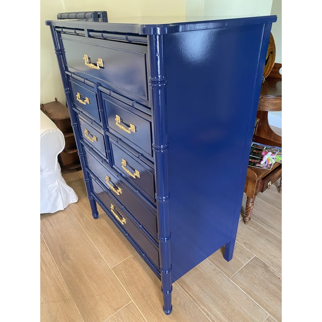 Hollywood Regency Palm Beach Chic Faux Bamboo Tall Dresser Lacquered in Navy Blue With Gold Handles For Sale - Image 3 of 11