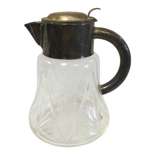 Semi-Cut and Etched Glass Pitcher