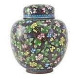 Image of Antique Floral Cloisonné Longevity Jar For Sale