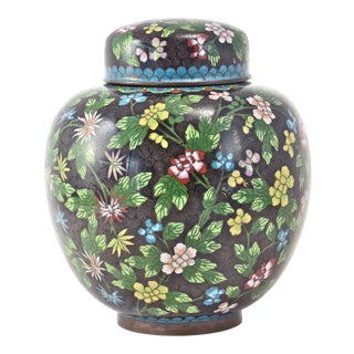 Antique Floral Cloisonné Longevity Jar For Sale