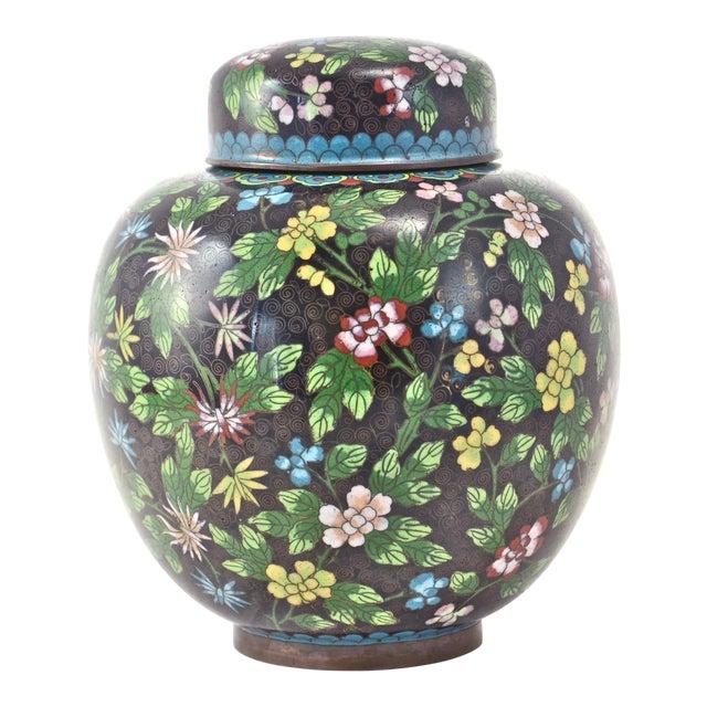Antique Floral Cloisonné Longevity Jar - Image 1 of 9