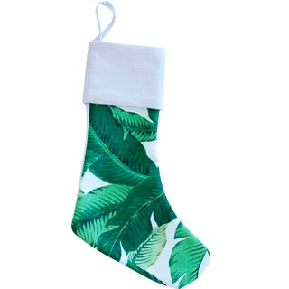 Custom Tropical Palm Leaf Christmas Stocking