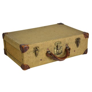 Antique 1930s Brown Tweed Suitcase