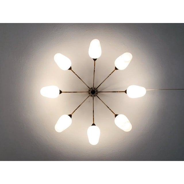 1950s Large Golden Mid-Century Modern Sputnik Flush Light 1950s For Sale - Image 5 of 7