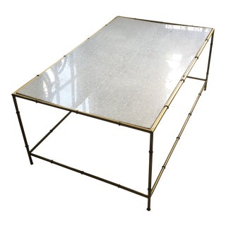 Art Nouveau Gold and White Marble Coffee Table For Sale