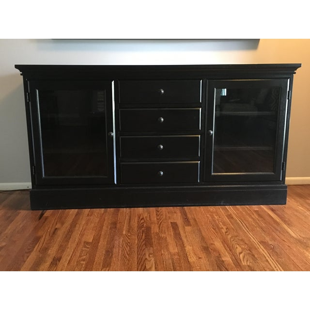 Pottery Barn Made Tucker Buffet In Black Finish Iron Knobs On Four Drawers And Two