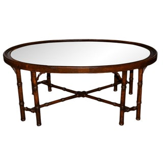 1960s Contemporary Faux Bamboo Oval Coffee Table For Sale
