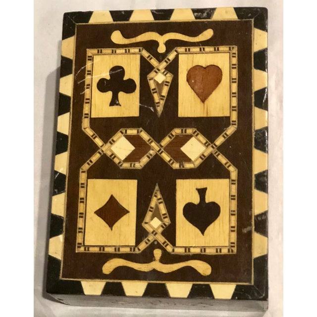 Late 19th Century 19th Century Art Nouveau Playing Cards and Marquetry Box For Sale - Image 5 of 8