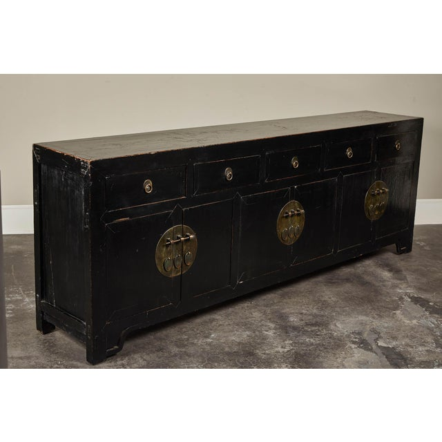 18th C. Chinese Black Lacquer Elm Sideboard For Sale - Image 9 of 10