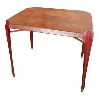 Pair Vintage Joseph Mathieu Red Stacking Table For Sale