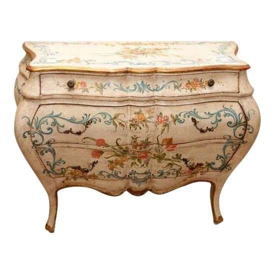 1990s French Shabby Chic Hand Painted Commode For Sale