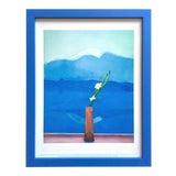 "Image of David Hockney Vintage 1996 Metropolitan Museum Framed Lithograph Print "" Mount Fuji and Flowers "" 1972 For Sale"