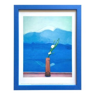 "David Hockney Vintage 1996 Metropolitan Museum Framed Lithograph Print "" Mount Fuji and Flowers "" 1972 For Sale"