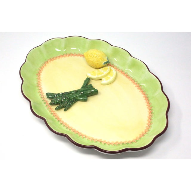 Vintage Hand-Painted Trompe l'Oeil Lemon and Asparagus Decorative Plate For Sale - Image 9 of 11