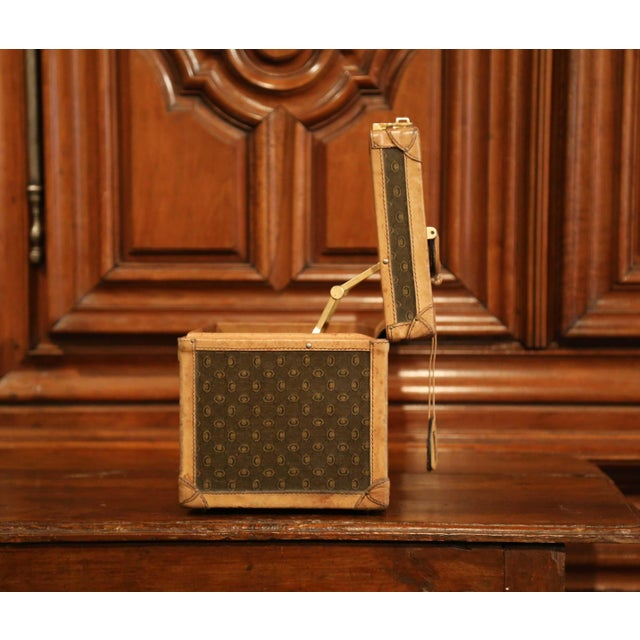 19th Century French Leather Toiletry Box With Decorative Trim and Brass Hardware For Sale - Image 10 of 13