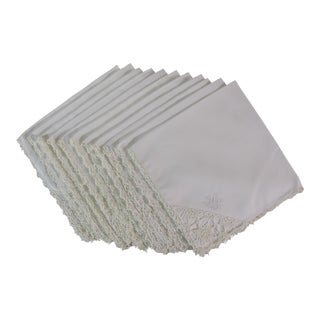 Hand Crochet Linen Napkins - Set of 11 For Sale