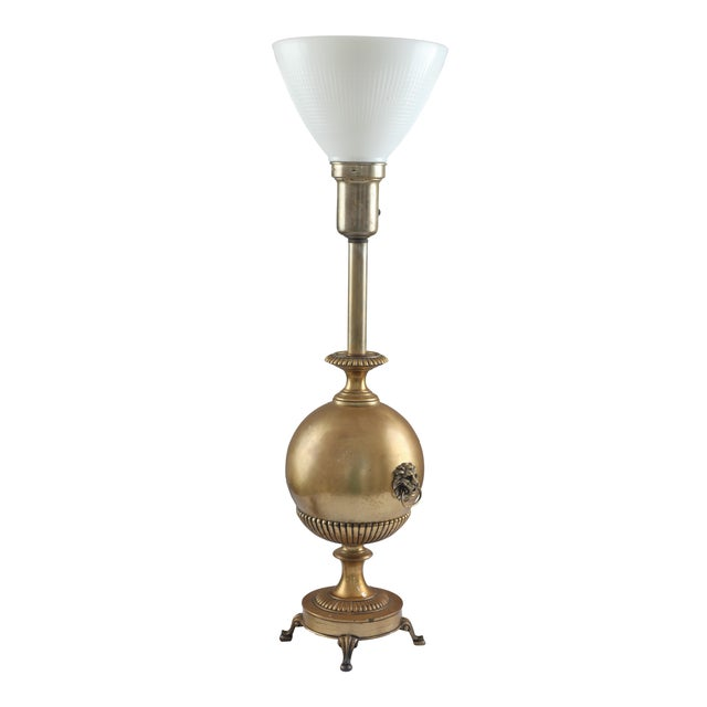 Neo Classical Early Stiffel Brass Lamp With Milk Glass Torchiere and Original Shade - Image 1 of 10