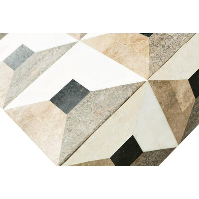 Contemporary Custom Geometric Design Marble and Brass Coffee Table For Sale - Image 3 of 5