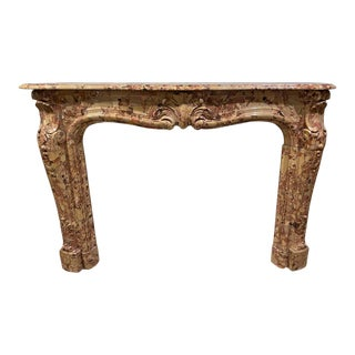French Beige and Rouge Marble Fire Surround For Sale