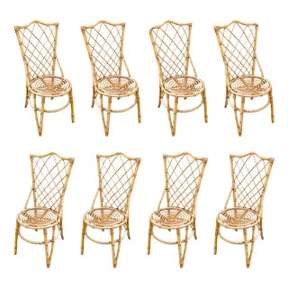 Vintage French Bamboo and Rattan Dining Chairs- Set of 8 For Sale