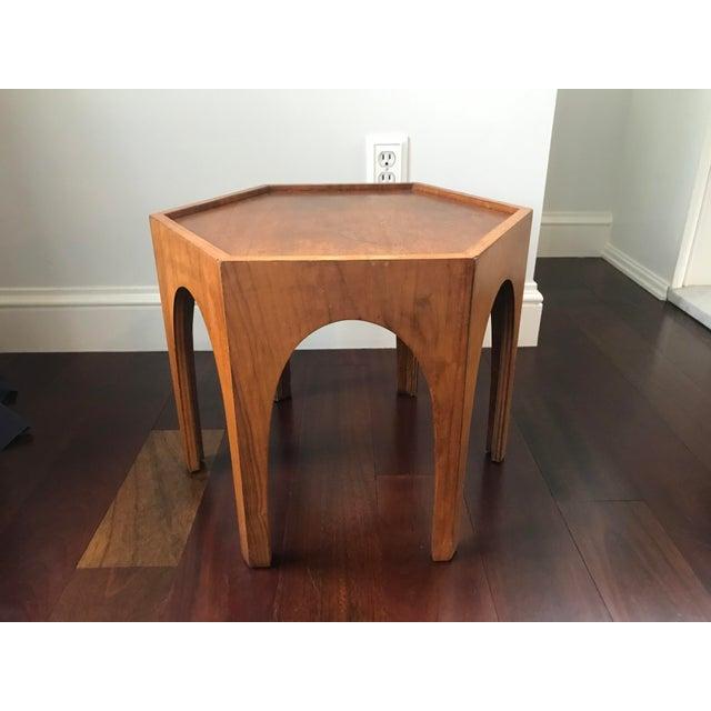 Vintage Mid Century Modern Danish Teak Hexagonal Side Table For Sale - Image 6 of 8