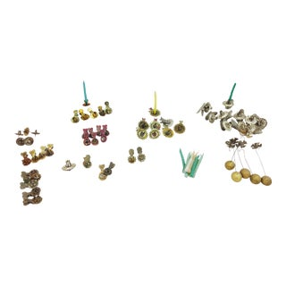 Antique Metal Christmas Candle Holders - 56 Piece Set For Sale