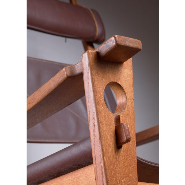 1960s Hans Wegner Key Hole Rocking Chair in Original Brown Leather For Sale - Image 5 of 7