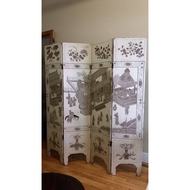 1920s Antique Chinese Gesso Screen Room Divider For Sale - Image 13 of 13