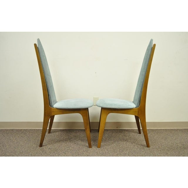 Blue Set of 4 Vintage Mid Century Modern Sculptural Walnut Dining Chairs Danish Style For Sale - Image 8 of 11
