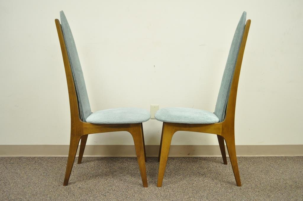 Blue Set Of 4 Vintage Mid Century Modern Sculptural Walnut Dining Chairs  Danish Style For Sale