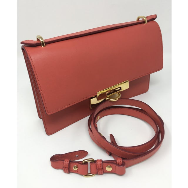 Beautiful Rouge Box Leather Salvatore Ferragamo Top Handle or Cross Body Bag For Sale In Greensboro - Image 6 of 12