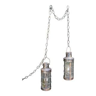 Nautical Copper Marine Oil Lanterns - A Pair For Sale