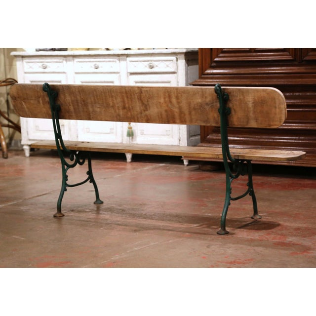 Early 20th Century French Oak and Green Painted Cast Iron Garden Bench For Sale - Image 10 of 12