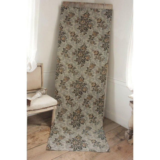 Rare and wonderful, this printed fabric is French and dates c 1890. Gray ground!!! So rare! The ground is pale gray with a...