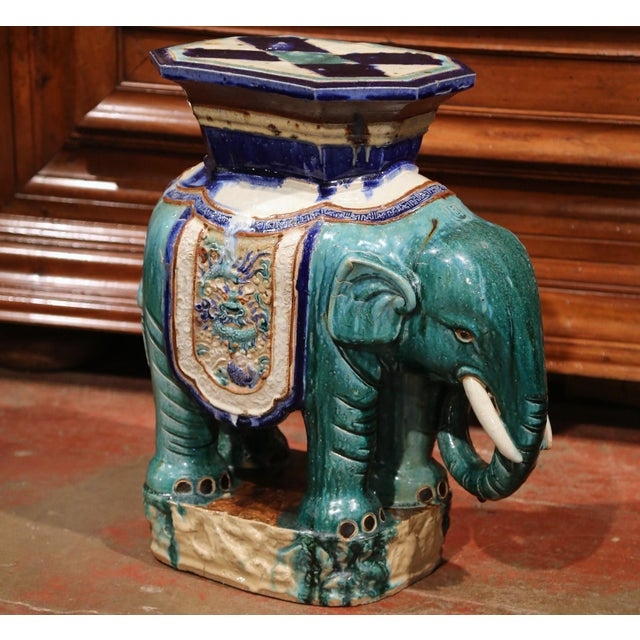 Early 20th Century French Faience Hand Painted Elephant Garden Seat For Sale In Dallas - Image 6 of 11