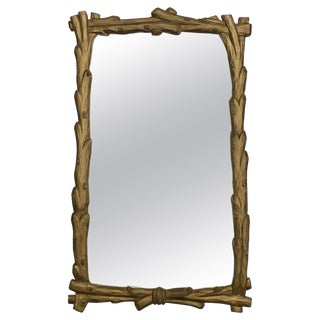 Midcentury Faux Bois Carved Wood Branch Gilt Wall Mirror For Sale