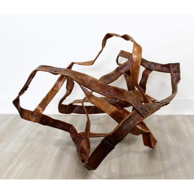 2010s Contemporary Forged Copper Abstract Table Floor Sculpture Signed Hansen 2019 For Sale - Image 5 of 8