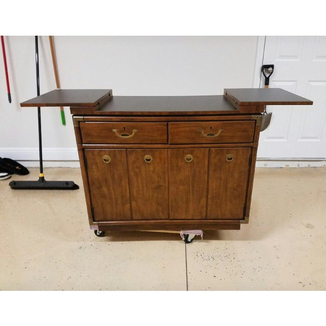 Rare Drexel campaign style bar / buffet server on rollers making it easily portable. This is from the Accolade 2...