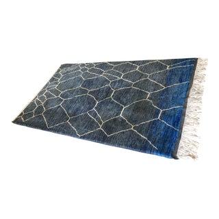 Moroccan Blue & White Beni Ourain Handmade Rug - 5'11″ × 9'6″