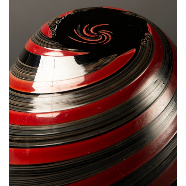 Large Murano Glass Red and Black Striped Vase For Sale In Detroit - Image 6 of 7