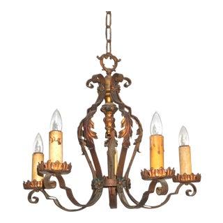 Antique Early 20th Century PolyChrome Art Nouveau 5-Light Chandelier For Sale