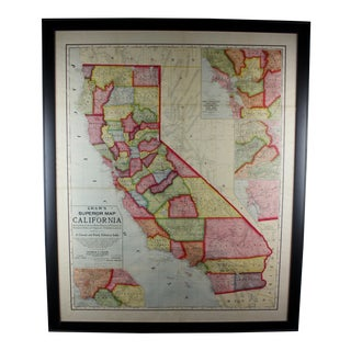 Turn of the Century Vintage Large California Map For Sale