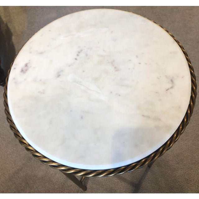 Metal Antique Marble Top & Brass End Table For Sale - Image 7 of 8
