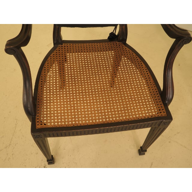 Brown Adam Style Cane Back & Seat Arm Chairs - a Pair For Sale - Image 8 of 13