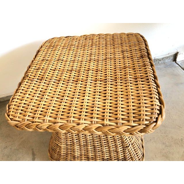 1960s Mid-Century Rattan Side Table For Sale - Image 4 of 5