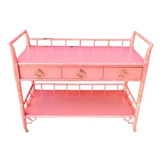 Thomasville Vintage Faux Bamboo Coral and Gold Rolling Bar Cart, Changing Table Buffet Cart For Sale