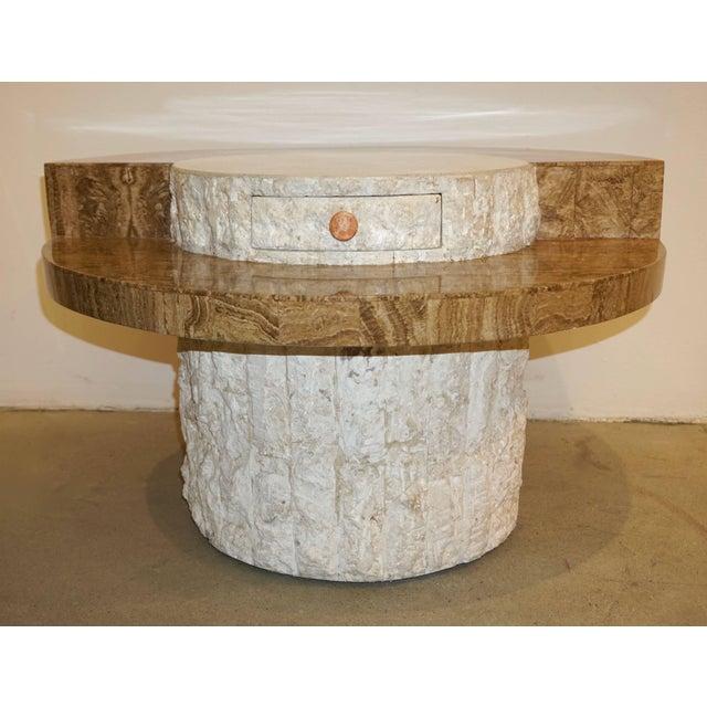 Stone 1970s Marzio Cecchi Italian Vintage White and Ochre Stone Round Side/Sofa Table For Sale - Image 7 of 12