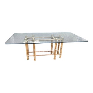 McGuire Reeded Bamboo Glass Table